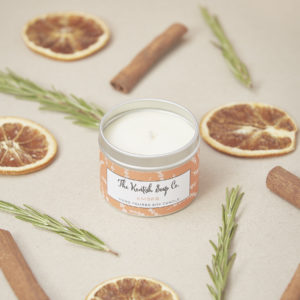 Soy wax candle fragranced with rosemary, cinnamon and orange essential oils in recyclable tin made by the award-winning Kentish Soap Company