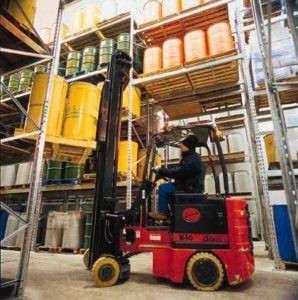 Forklift truck operating in Gerald McDonald and Co, suppliers of a range of certified organic ingredients and juices