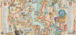 Artist Adam Dante's illustration of the Thames Estuary Trail as walked and written about by Tom King.