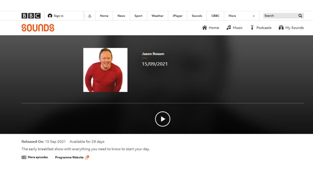 Screenshot of Jason Rosam's BBC Sounds programme